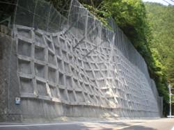 発注者:東京都 現場吹付法枠工、鉄筋挿入工