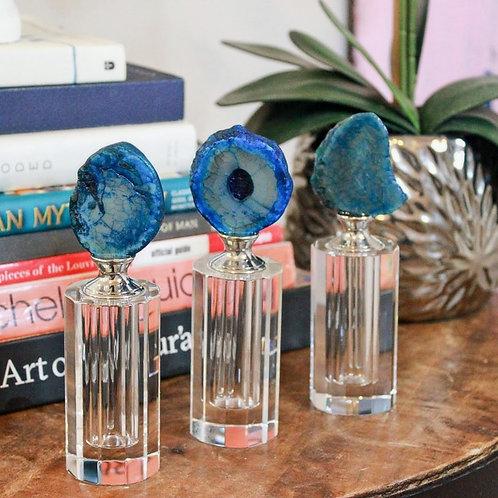 Blue Agate Glass Bottles