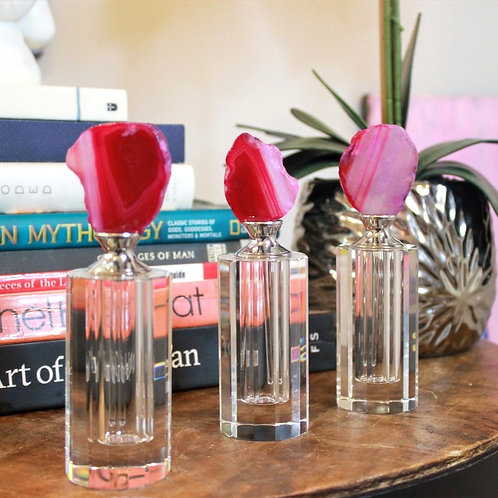Pink Agate Glass Bottles