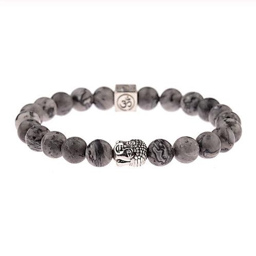 Bracelet Bouddha et Jaspe grise