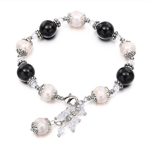 Perles d'eau douce et pierres d'Oeil de chat noires