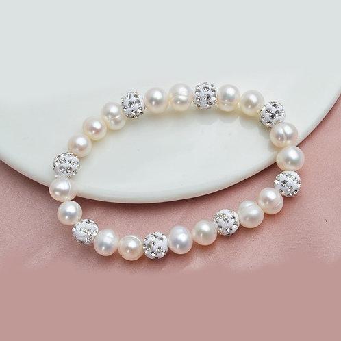 Perles d'eau douce et Zircon cubique