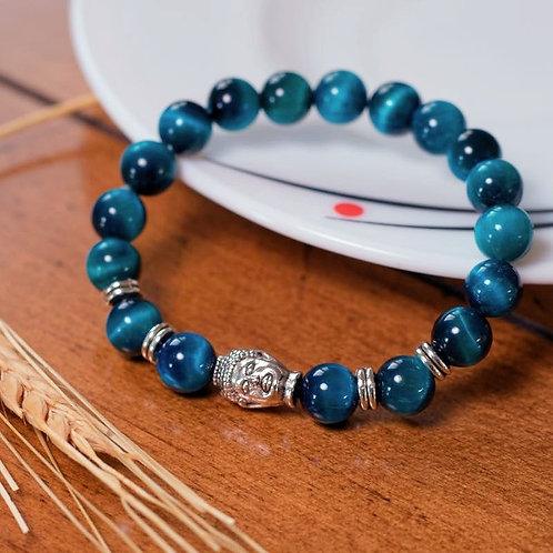 Oeil de tigre bleu et tête de Bouddha argentée