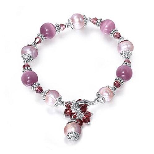 Perles d'eau douce et pierres d'Oeil de chat violettes