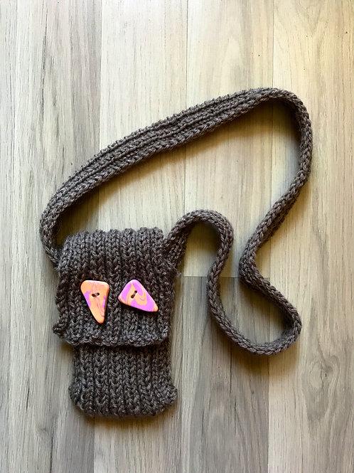 Grey knitted hand bag/Серая вязаная сумочка