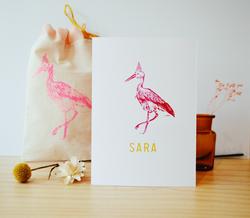 geboortekaartje sara- lintstempel