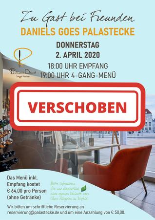 VERSCHOBEN: Menüabend am 02.04.2020 - Zu Gast bei Freunden - Daniels goes Palastecke