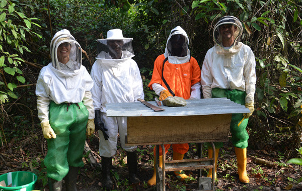 Kent and Landis out with beekeepers