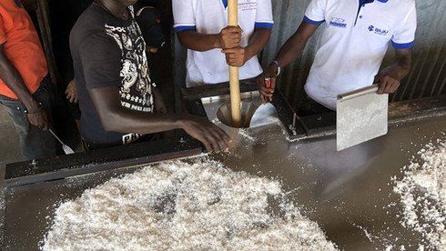Filling the coconut oil cylinder