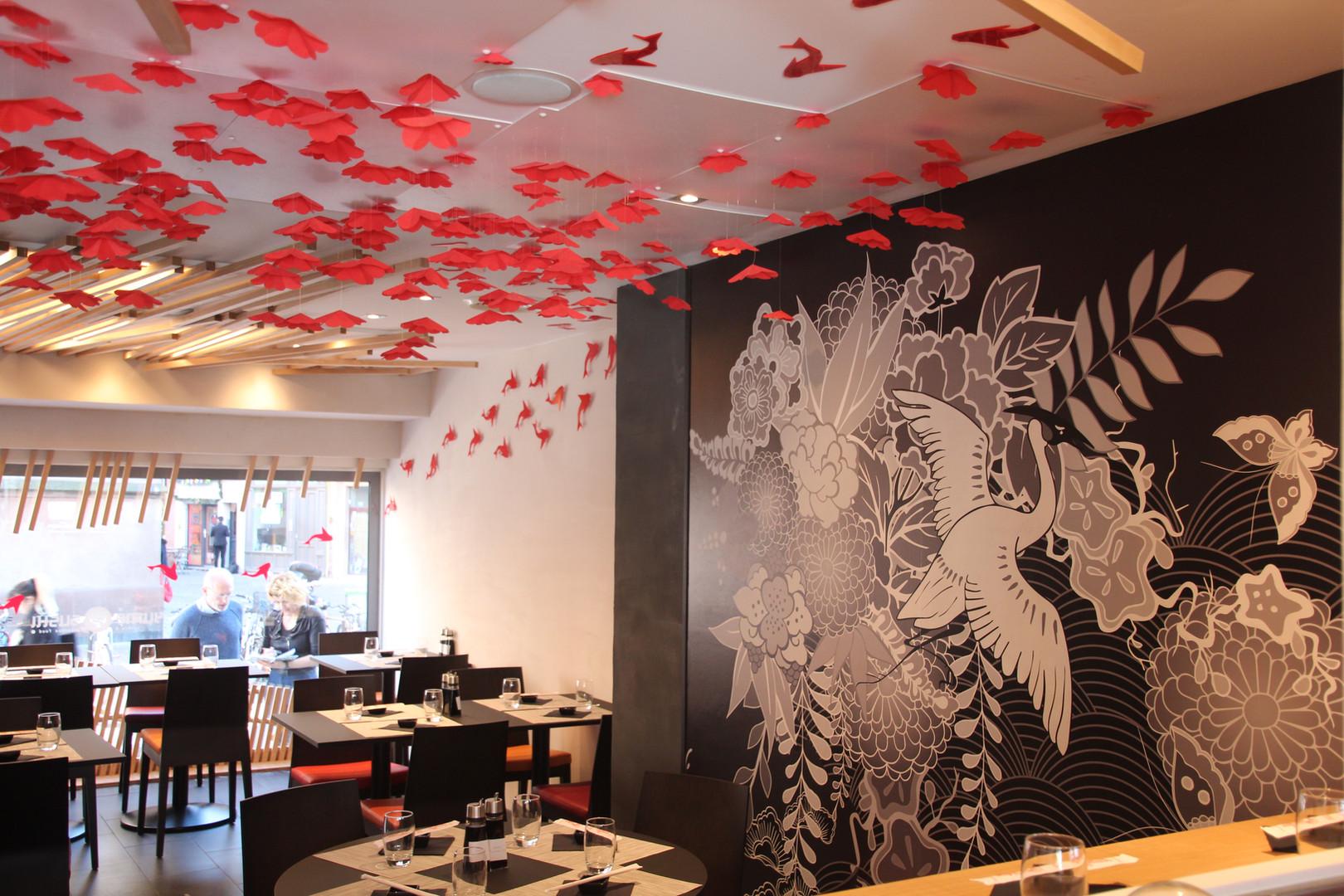 La décoration de la grande salle - restaurant Yume Sushi Strasbourg