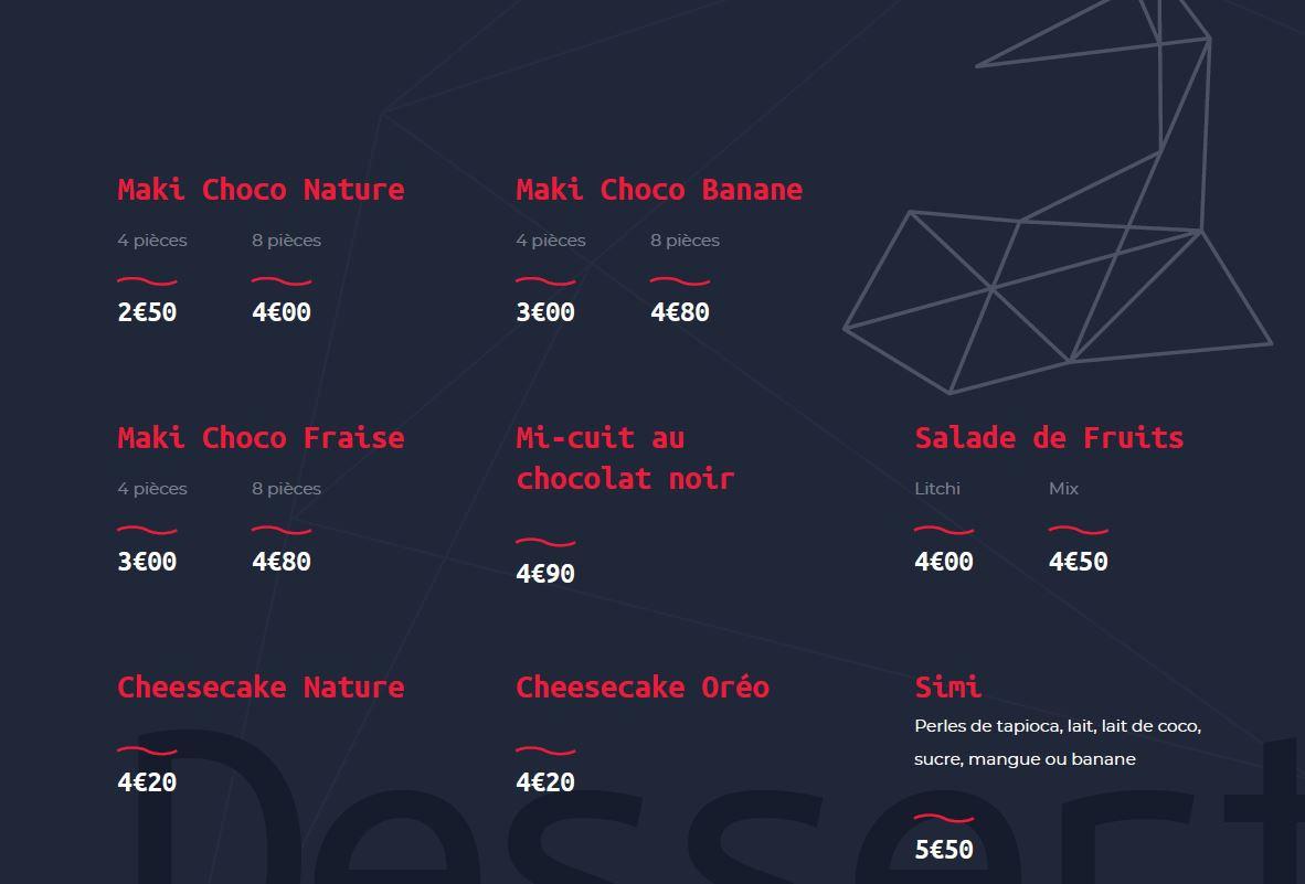 Les Desserts - Restaurant Yume Sushi Strasbourg