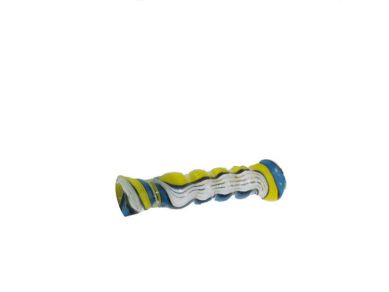 3 inch glass blue and white chillum