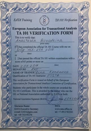 Сертификат о прохождении «101 курса»