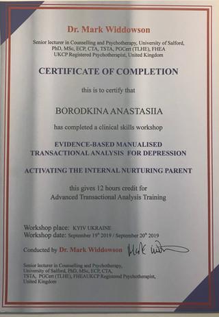 Воркшоп «Транзактный Анализ при работе с депрессией»; «активация внутреннего заботливого Родителя», Dr. Mark Widdowson (PhD, MSc, ECP, TSTA), United Kingdom, 2019 год.