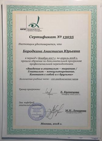 Сертификат о прохождении «первой ступени Гештальт-терапии», Кузнецова Е.А., Россия, 2018 год