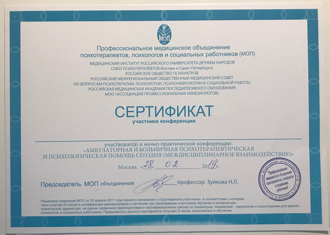 Сертификаты об участия в конференциях.