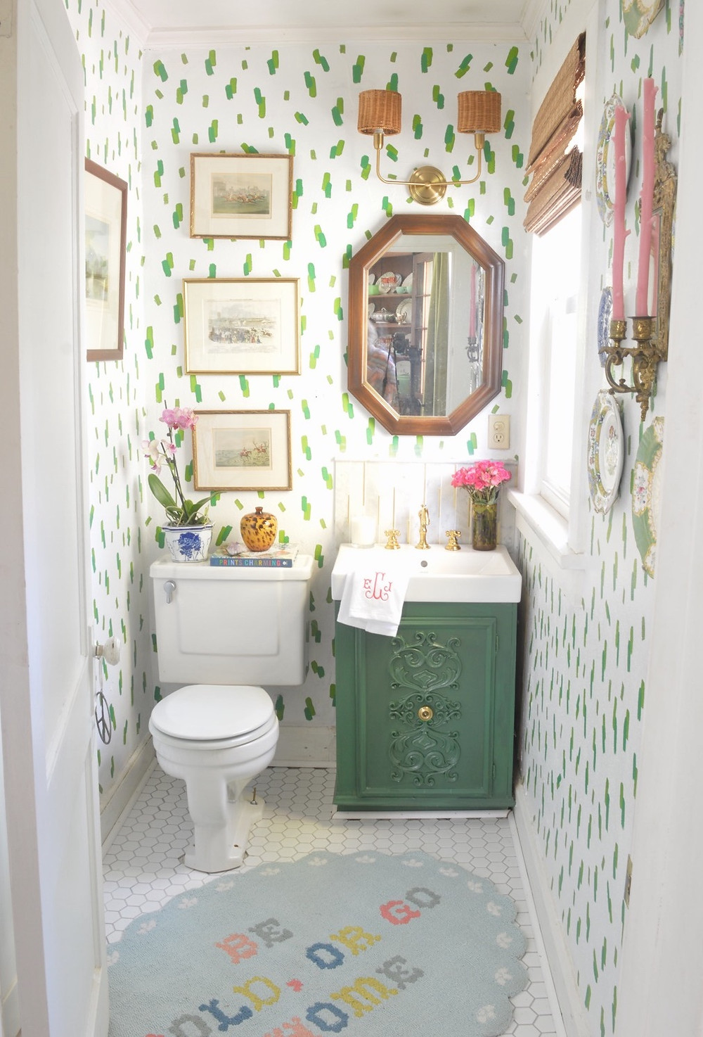 interior design, DIY, One Room Challenge, powder room renovation, grandmillennial style, traditional home style