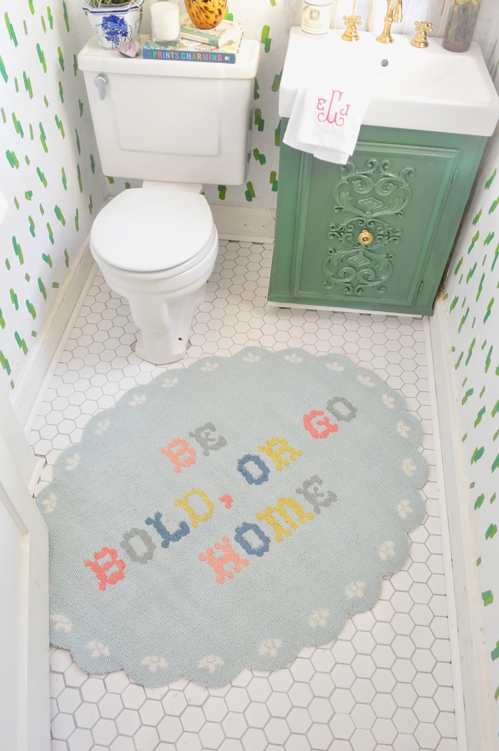 interior design, DIY, One Room Challenge, powder room renovation, grandmillennial style, traditional home style, madcap cottage rug, madcap cottage wallpaper
