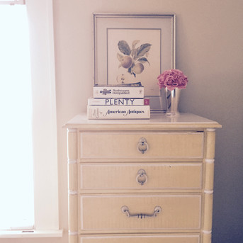 Faux bamboo tall chest of drawers has a Palm Beach vibe.
