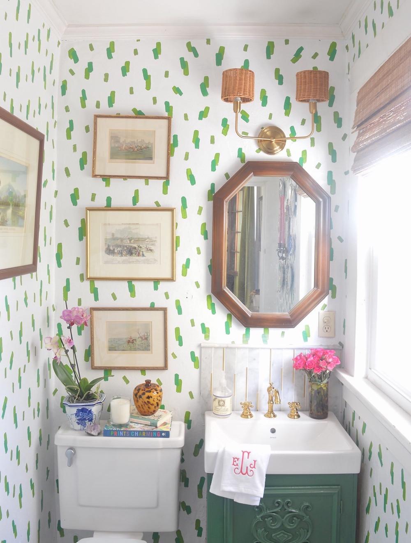 interior design, DIY, One Room Challenge, powder room renovation, rattan scone shade, rattan lamp shade, wicker lamp shade, wicker sconce shade, antique art prints, grandmillennial style, traditional home style