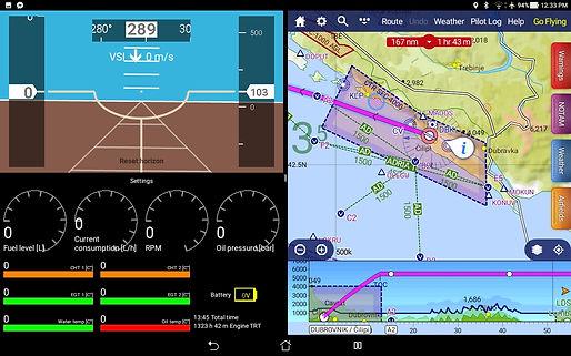 Split scren EFIS with navigation