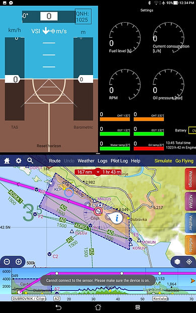 Split screen IOS ANDROID EFIS with Navigation