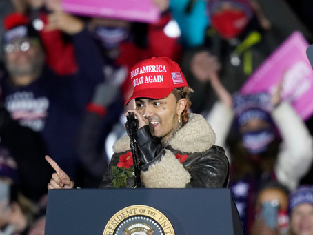 Lil Pump Joins President Trump On Stage at a MAGA Rally in Michigan