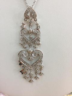 14K Gold .21ctw Diamond Elegant Heart Drop Pendant