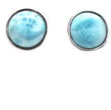 Sterling Silver Round Larimar Earrings