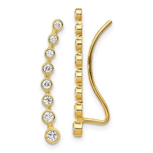 14K Bezel Set Climber Earrings