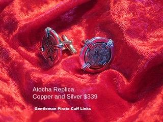Sterling Silver Atocha Copper Gentleman Pirate Cuff Links