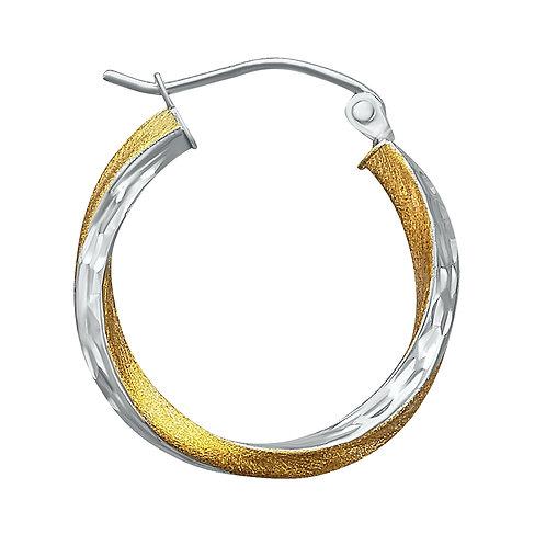 14K Gold 1.8GR Two Tone Hoop Earrings