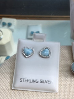 Sterling Silver Larimar Heart Earrings with Cubic Zirconia