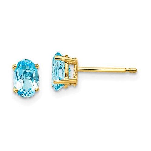 14K Gold Oval Blue Topaz Earrings