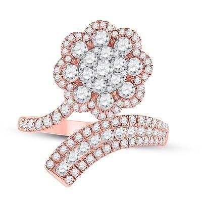 14K Rose Gold & Diamond Flower Ring