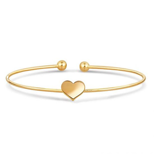 14K Gold Star, Heart or Flower Cuff Bangle