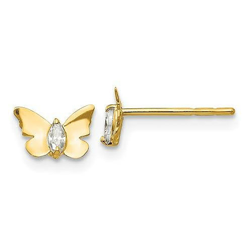 14k Gold CZ Butterfly Earrings