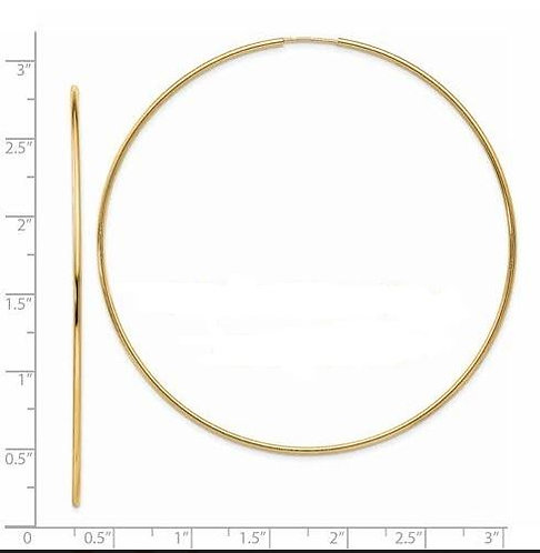 14K Gold Endless Hoops