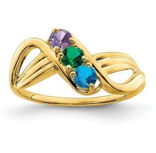 14K Gold Three Stone Mothers Ring