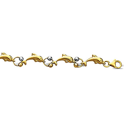 14K Gold Swimming Dolphins Anklet