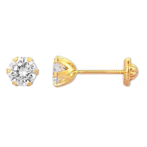 14K Gold Cubic Zirconia Screw back Stud Earrings