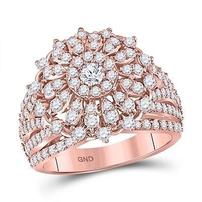 14K Rose Gold & Diamonds Ornate Ring