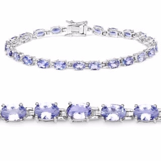 Sterling Silver 10ctw Tanzanite Bracelet
