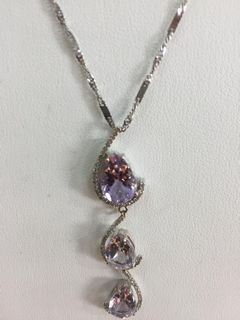 14K Gold 6ctw Pink Amethyst .24ctw Diamond Pendant