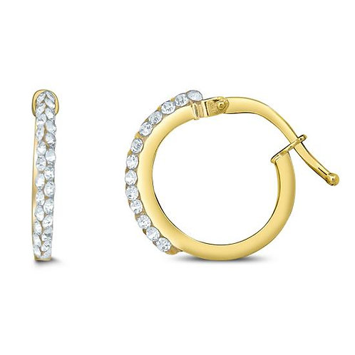 14K Gold Small Hoop with Swarovski Crystal