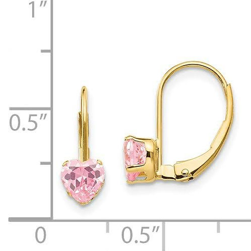 14k Gold Pink CZ Earrings