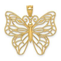 14K Gold Butterfly Detailed Charm/Pendant