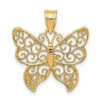 14K Gold Butterfly Swirl Charm/Pendant