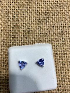 Sterling Silver Trillion Tanzanite Earrings