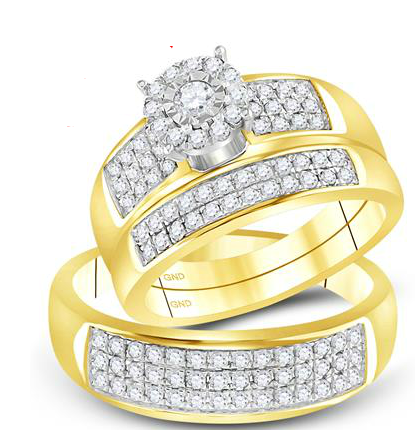 14K Trio .88ctw Diamond Ring